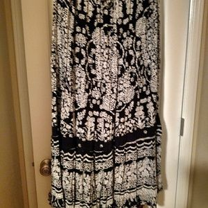 Long black and white printed embellished skirts